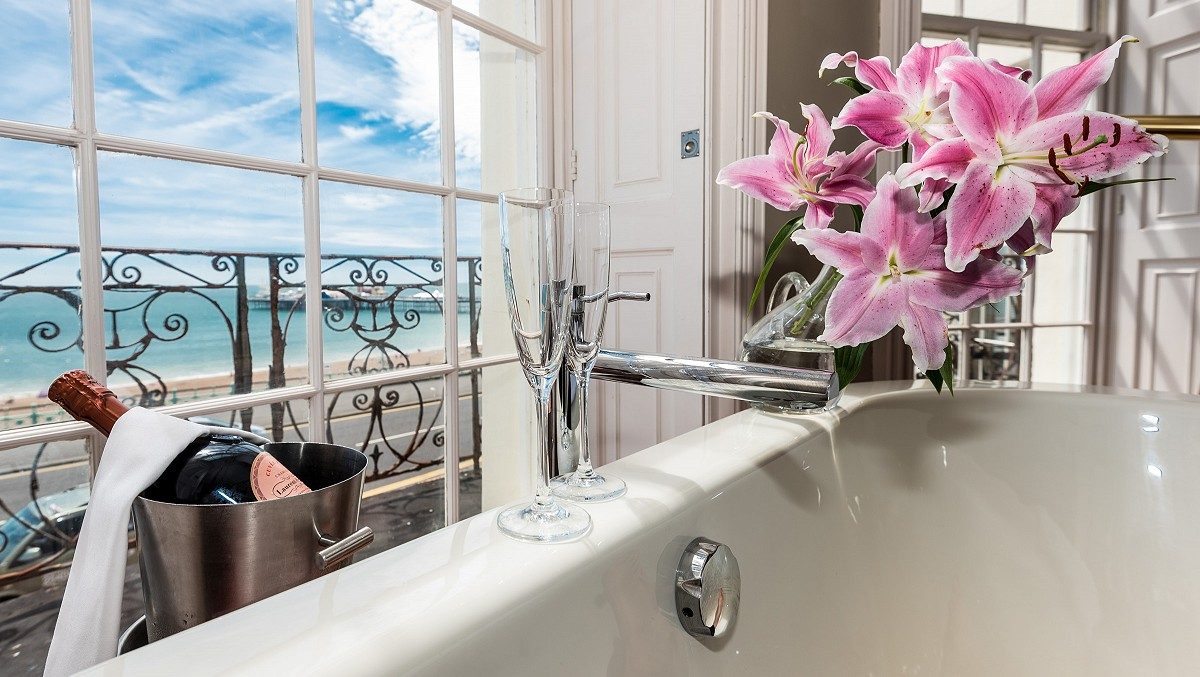 View from Bath with Lilies